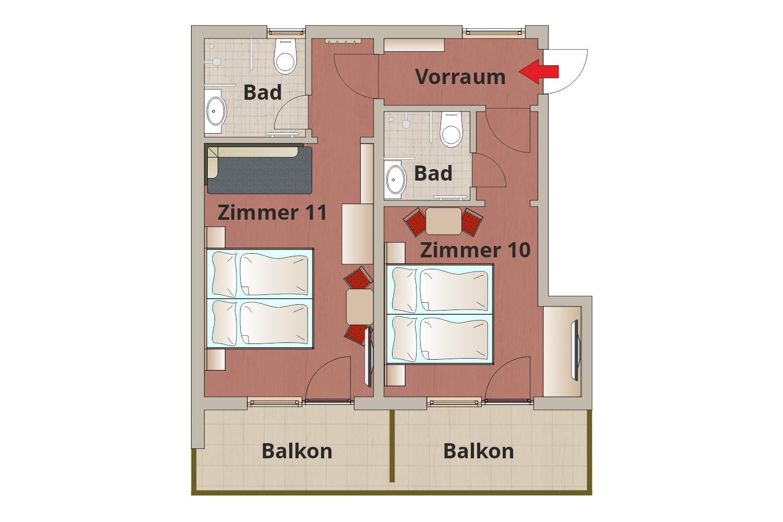 Skizze Familienzimmer 10+11